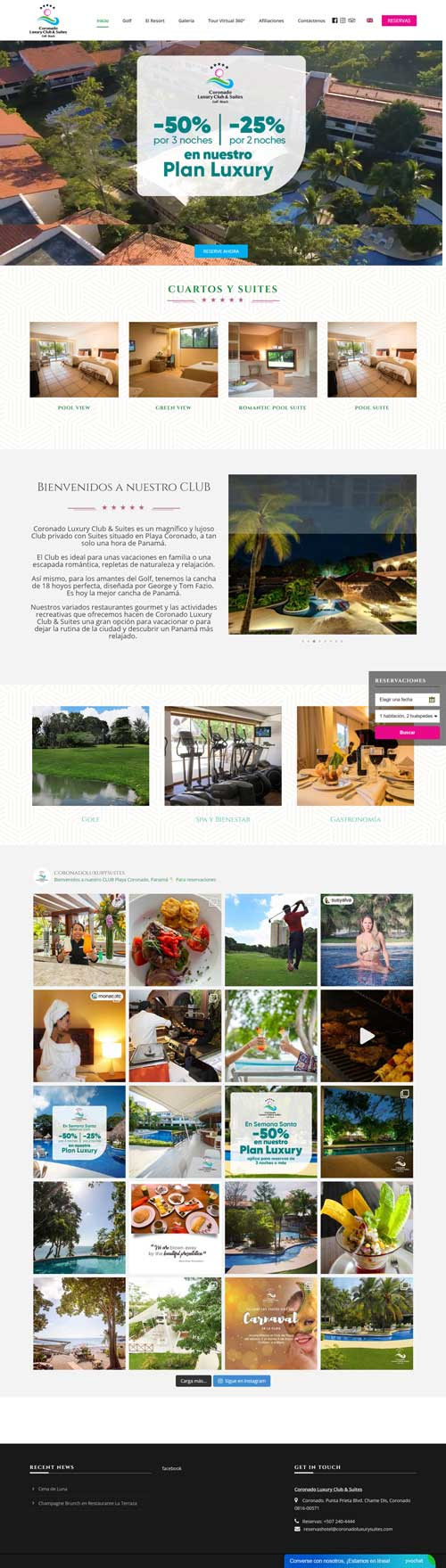 Diseño web en Panamá - Coronado Luxury Club & Suites